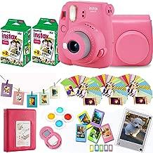 Fujifilm Instax Mini 9 - Flamingo Pink Instant Camera + Fuji Instax Film 40 Shots + Protective Case + Magnetic Acrylic Frame+Album, Hanging Frames, Desk Frames, Filters & Selfie Lens 90 PC Design Kit