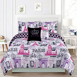 Bedding Queen 5 Piece Girls Comforter Bed Set, Paris Eiffel Tower London Pink and Purple