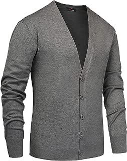 PAUL JONES Men's Stylish V-Neck Button Down 2 Pockets Cardigan Sweater Ribbed Edge