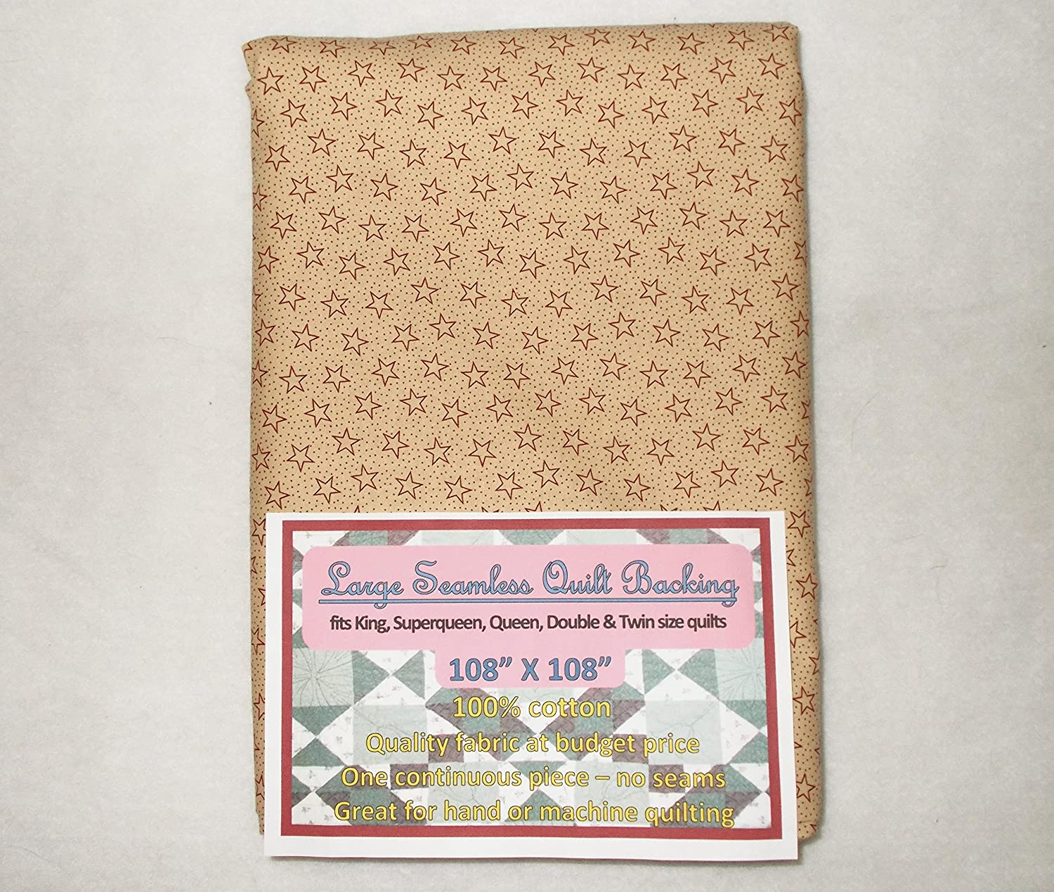 Quilt Backing Large Seamless Red Stars on Dots Fort Worth Mall Department store Tan C49187-