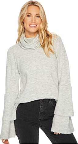 Warm Touch Sweater with Cowl Neck and Layered Ruffle Sleeve KS0K57S5