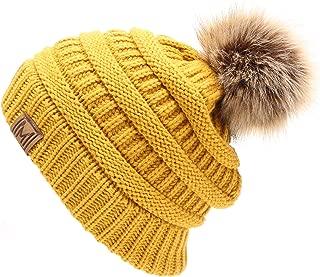 Women's Soft Stretch Cable Knit Warm Skully Faux Fur Pom Pom Beanie Hats
