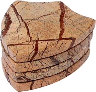 Ecstassy Handcrafted Batch shaped Marble Coasters for Drinks | Handmade Coaster Set For Kitchen and Dining Table | Decorative Marble Wine Coasters | Table Coaster | Stone Coaster | Bar Coasters