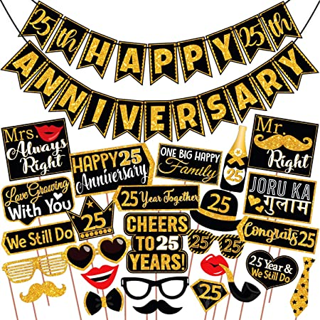 Wobbox 25th Anniversary Photo Booth Party Props DIY Kit with 25th Anniversary Bunting Banner, Golden Glitter & Black , Anniversary Party Decoration