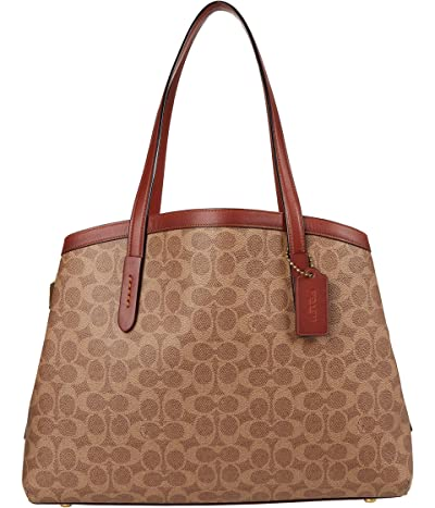 COACH Coated Canvas Signature Charlie 40 with Laptop Compartment (Tan Rust) Bags