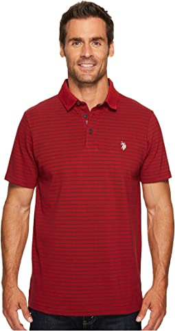 Classic Fit Striped Short Sleeve Pique Polo Shirt