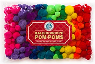 Tin Roof Crafts Deluxe Pom Poms in Hot Kaleidoscope Colors for Crafts and DIY Hobby Supplies, Large Bag, 324 Pompoms, 4 Different Sizes Bonus Googly Eye Package