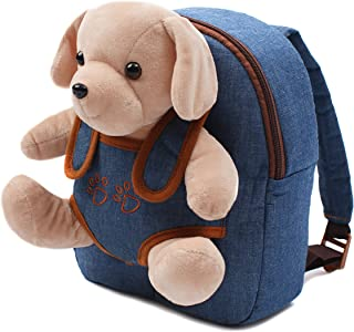 Cute Toy Toddler Backpack – Kids Stuffed Animal Toy Backpack – Kids Backpacks for Boys and Girls with Plush Toy (Blue Jeans)