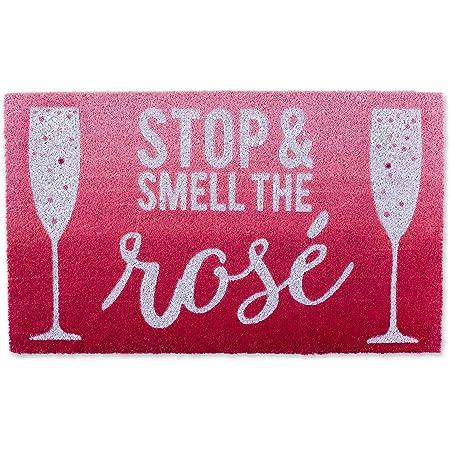 DII Natural Coir Doormat, Fun Greeting Mat, Smell The Rose, 18x30