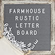 Felt Letter Board with 10x10 Inch Rustic Wood Frame, Script Words, Precut Letters, Picture...