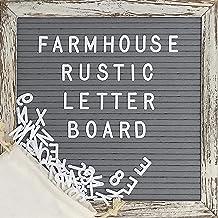 Felt Letter Board with 10×10 Inch Rustic Wood Frame, Script Words, Precut Letters,..