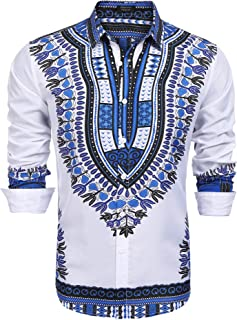 COOFANDY Men's African Dashiki Print Dress Shirt Slim Fit Long Sleeve Casual Floral Button Down Shirt