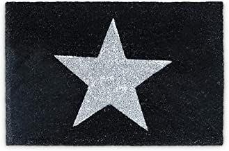 Relaxdays Natural Coconut Fibre Coir Star Doormat Door Mat Welcome Mat w/ Anti-Slip Rubber PVC Underside, Black