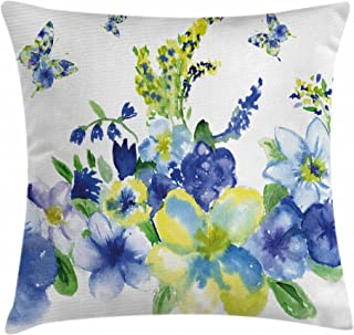 Ambesonne Yellow and Blue Throw Pillow Cushion Cover, Spring Flower Watercolor Flourishing Vibrant Blooms Design, Decorative Square Accent Pillow Case, 18