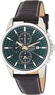 #SNAF09 Men's Leather Band Green Dial Alarm Chronograph Watch