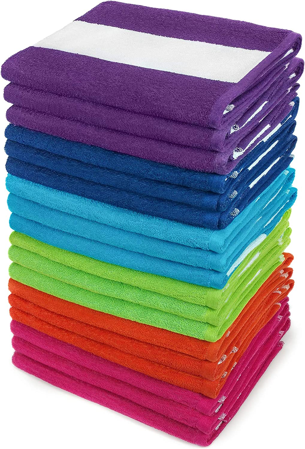 Kaufman - Cabana Terry Loop Seasonal Wrap Introduction Beach Towel Pool 30in Special Campaign and 18-Pack