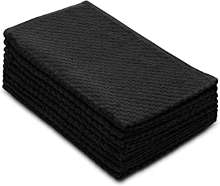 Cotton Craft - 8 Pack - Euro Cafe Waffle Weave Terry Kitchen Towels - 16x28 Inches -Black - 400 GSM quality - 100% Ringspun 2 Ply Cotton - Highly Absorbent Low Lint - Multi Purpose