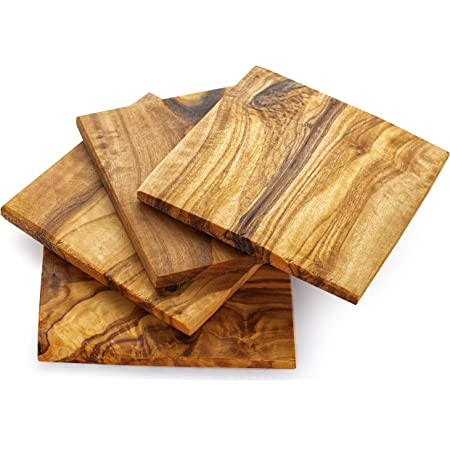 Amazon Com Forest Decor Wood Coasters Set Of 4 Perfect Wooden Coasters For Table Or Cabin Decor Rustic Living Room Decor Made Of Olive Wood Coasters