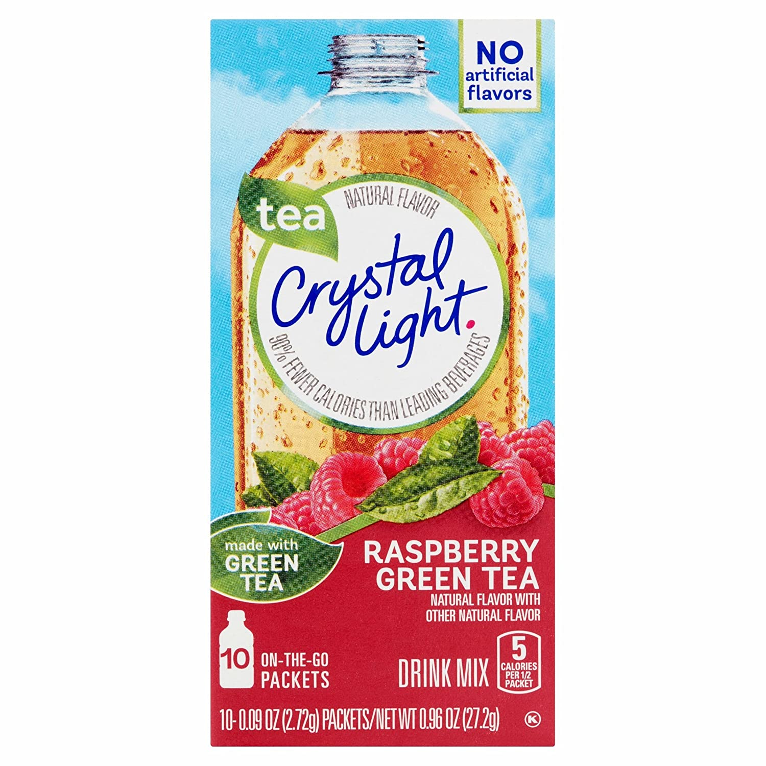 Crystal Light Mail Outlet SALE order cheap On The Go Raspberry Tea Pack 10-Packet Box Green