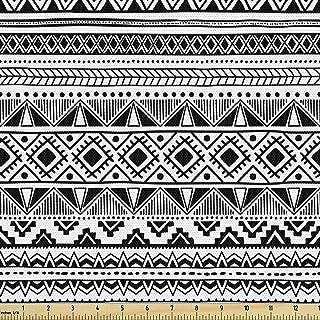 Ambesonne Ethnic Fabric by The Yard, Black and White Geometric Ornament Hand Drawn Style Folk Native Peruvian Borders, Dec...