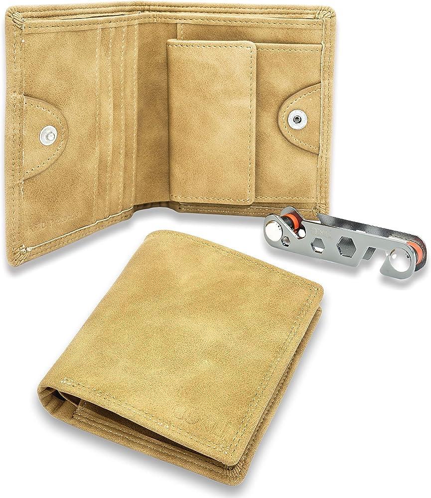 OoklÍ porta carte di credito con protezione anticlonazione portafoglio in pelle sintetica marrone