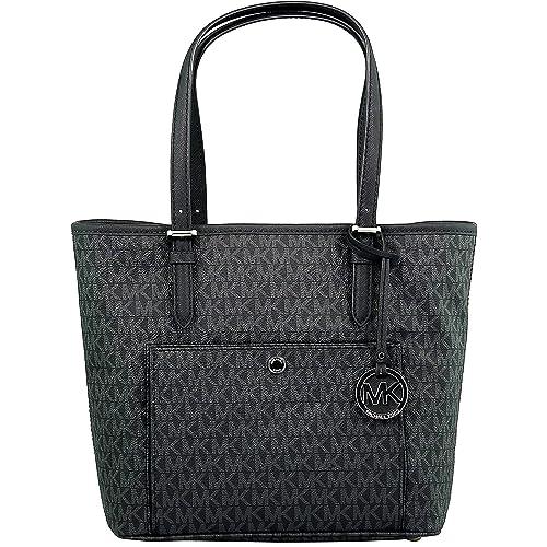 98a3cc4dc843 Michael Kors Women s Large Jet Set Top Zip Snap Pocket Tote Bag Leather  Shoulder