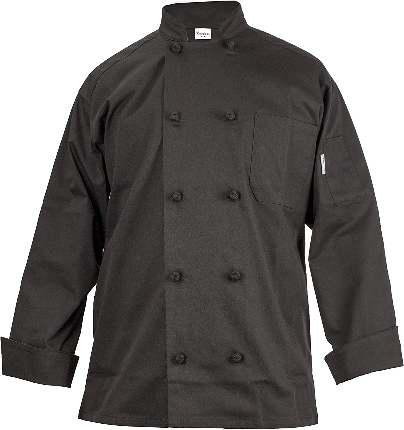 Chef's Pride Unisex Chef Coat  Double Breasted Long Sleeve Chef Jacket with Cloth Knotted Buttons Poly Cotton Blend