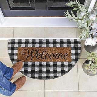 Fall Doormat Outdoor, 17x30 Farmhouse Check Welcome Mat, Half Round Durable Coir Doormat, Cute Welcome Mats for Front Doo...