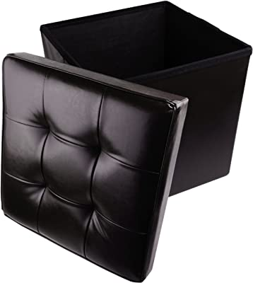"""Red Co. Faux Leather Folding Cube Storage Ottoman with Padded Seat, 15"""" x 15"""" - Black"""