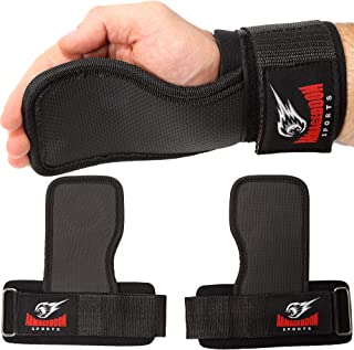Weight Lifting Hand Grips Workout Pads with With Built in Adjustable Wrist Support Wraps for Power Lifting Pull Up Fitness Gym - Fitness Gloves Alternative by Armageddon Sports