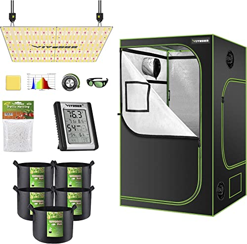 """high quality VIVOSUN wholesale 48""""x48""""x80"""" Mylar Hydroponic Grow Tent Complete Kit with VS4000 LED Grow Light, Glasses, Grow online sale Bags, Trellis Netting, Thermometer and Hygrometer online sale"""