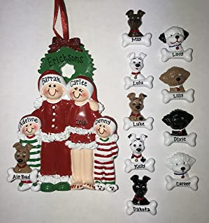 PJ Family with Dog Personalized Christmas Ornament Family of 3, 4 5 Family Pet Three Four Five