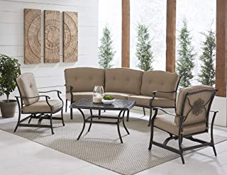 Hanover TRAD4PCCT-TAN Traditions 4-Piece Patio Set with Cast-Top Coffee Table Outdoor Furniture, Tan