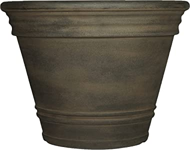Sunnydaze Franklin Flower Pot Planter, Outdoor/Indoor Unbreakable Polyresin, UV-Resistant Sable Finish, Single, Large 20-Inch Diameter