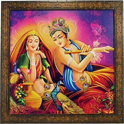 Indianara Radha Krishna Paintings (1624) Without Glass 13.8 X 13.8 inch