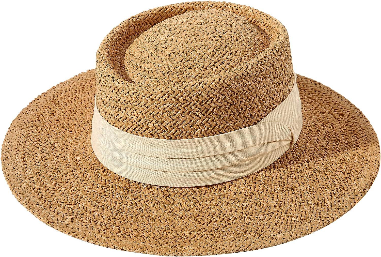 Lanzom Women Straw Fedora Hat Wide Brim Panama Sun Hat Boater Hat Summer Beach Sun Hat