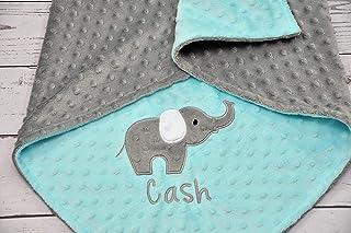 Personalized Elephant Applique minky baby blanket