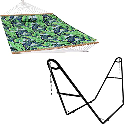new arrival Sunnydaze Exotic Foliage 2-Person Quilted Printed Fabric Spreader Bar Hammock and sale Pillow with S Hooks and Hanging Chains and 450-Pound discount Capacity Black Heavy-Duty Steel Hammock Stand Bundle sale