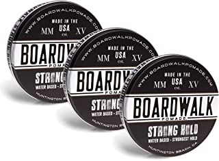 Boardwalk Pomade Strong-Hold Pomade, Aloe Vera Pomade, Vegan, Paraben Free, 4.5 oz, Pack of 3