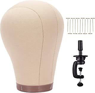 """BHD BEAUTY Cork Canvas Block Mannequin Head Wig Display Styling With Mount Hole 23.5"""" (Canvas Head+Head Stand+T Pins)"""