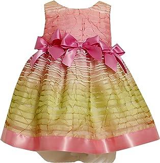 Bonnie Baby Girls' Ombre Sheer Stripe Dress with Satin Trim