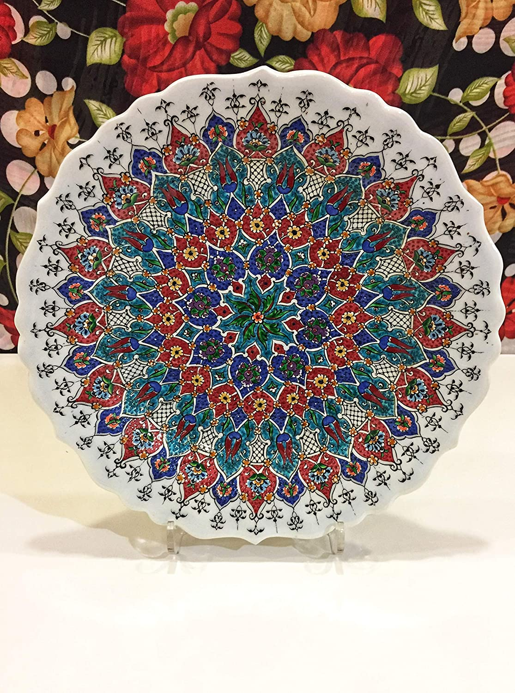 specialty shop IstanbulArtWorkshop 12'' Traditional Super intense SALE Decorative Tu Plate Ceramic