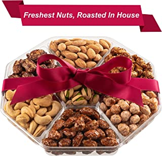 Holiday Nuts Gift Basket | Fresh Sweet & Salty Dry Roasted Gourmet Nuts | Fantastic Gift for Sympathy, Holiday, Christmas, Family, Men & Women | Variety of 7 Sweet & Salty Nuts Tray | Prime Delivery