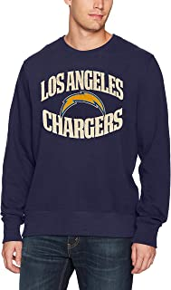 OTS NFL Los Angeles Chargers Men's Fleece Crew, Distressed Marbleton, Small