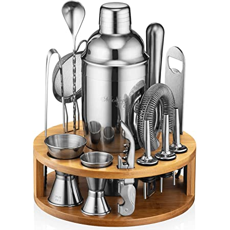Mixology Bartender Kit: 15-Piece Bar Set Cocktail Shaker Set with Stylish Bamboo Stand   Perfect for Home Bar Tools Bartender Tool Kit and Martini Cocktail Shaker for Awesome Drink Mixing Experience