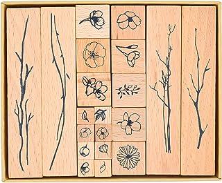 MissOrange『木製ゴム印セット』花びら クリエイティブスタンプセット クラフトカード スクラップブッキング 手帳用 20個セットM-24