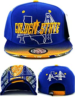 Golden State New Leader Small Youth Kids Bridge Skyline 3 Blue Gold Era Snapback Hat Cap 19in - 22in Head Size