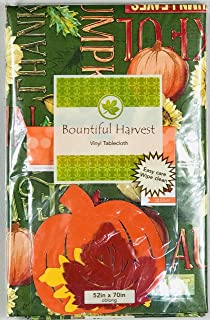 Elrene Fall Harvest Flannel Vinyl Tablecloth: Colorful Farm Fresh Watercolor Pumpkins Gourds Sunflowers on Green with Holiday Cutout Table Scatter (52