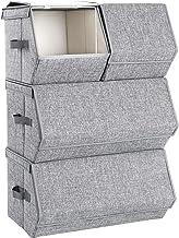 SONGMICS Pudełko do przechowywania z pokrywą, zestaw 4, organizer na zabawki, metalowa rama, magnetyczne zamknięcie, na ub...
