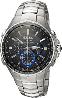 Seiko Men's COUTURA Japanese-Quartz Watch with Stainless-Steel Strap, Silver, 26.3 (Model: SSG009)
